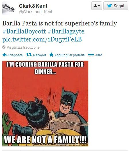 Batman seems to agree with Guido Barilla...