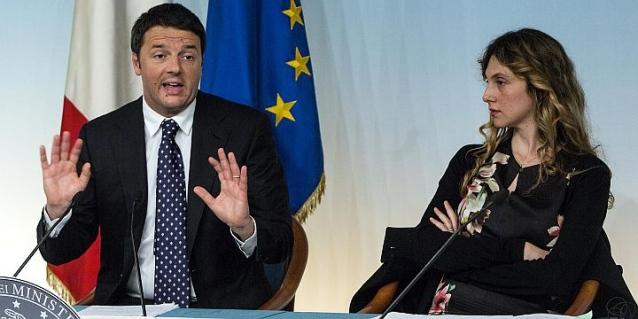 Renzi e Madia alla conferenza stampa del 30 aprile. ©unita.it